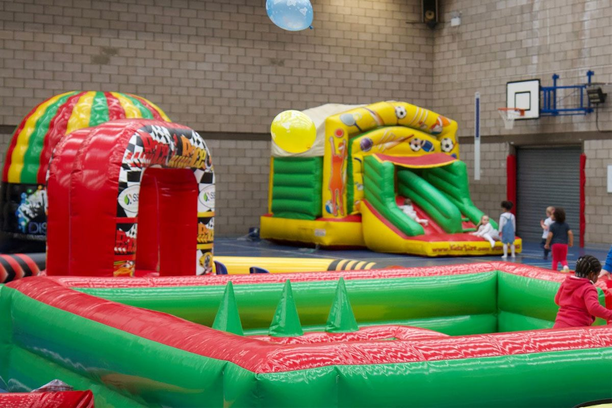 An example of our inflatables and bouncy castles at one of our activity birthday parties in Bedfordshire